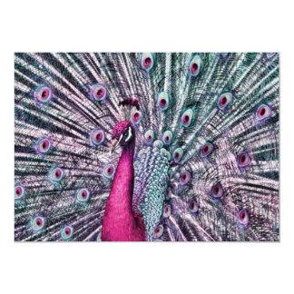 "Pink and Purple Fantasy Peacock Party Invitations 5"" X 7"" Invitation Card"