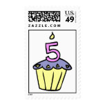Pink and Purple Fifth Birthday Cupcake Postage