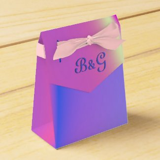 Pink and Purple Fling Monogram Party Favor Boxes