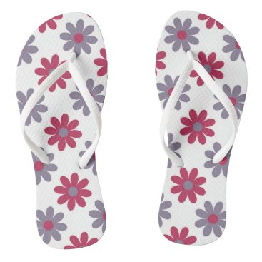 Beach Themed Pink and Purple Floral Flip Flops