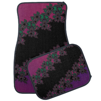 Pink and Purple Floral Fractal Car Mats