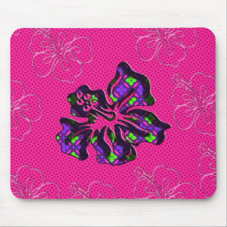 Pink and Purple Floral Hibiscus Flower Mouse Pad