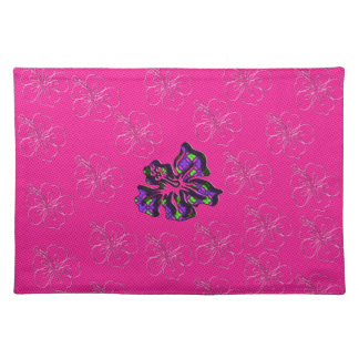Pink and Purple Floral Hibiscus Flower Placemat