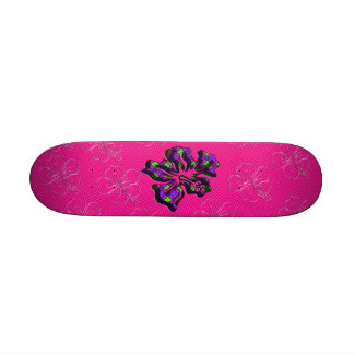 Pink and Purple Floral Hibiscus Flower Skateboard Decks