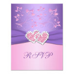 Pink and Purple Floral Joined Hearts RSVP Card