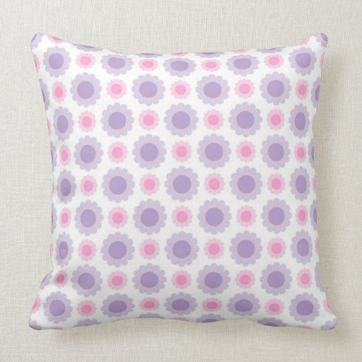 Pink and purple floral pattern throw pillow Zazzle