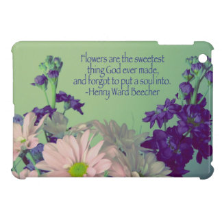 Pink and Purple Floral+Quote Case For The iPad Mini