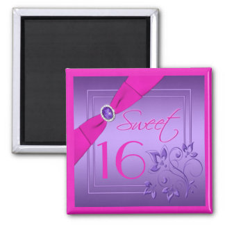 Pink and Purple Floral Sweet Sixteen Magnet