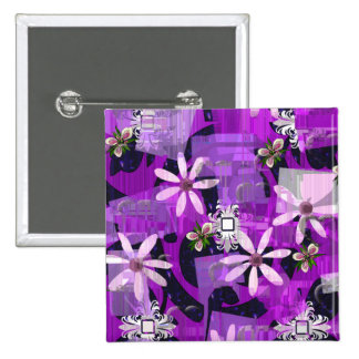 Pink and Purple Flower Art Buttons