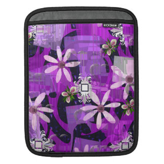 Pink and Purple Flower Art Sleeve For iPads