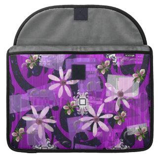 Pink and Purple Flower Art MacBook Pro Sleeves