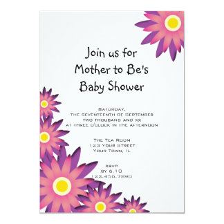 Pink and Purple Flower Baby Shower Invitation