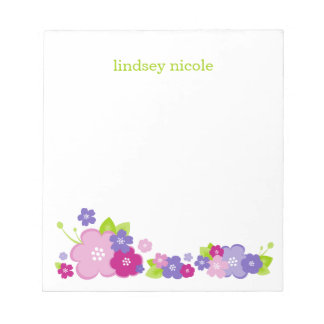 Pink and Purple Flower Border Custom Monogram Notepad