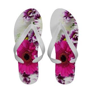 Pink and Purple Flower Bouquet Flip-Flops