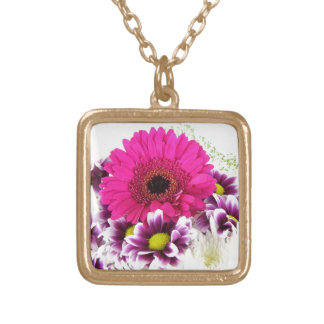 Pink and Purple Flower Bouquet Gold Plated Necklace