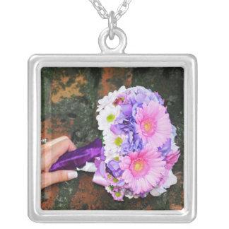 Pink and purple flower bouquet pendants
