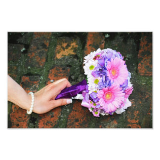 Pink and purple flower bouquet photo art