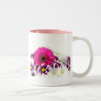 Pink and Purple Flower Bouquet Two-Tone Coffee Mug