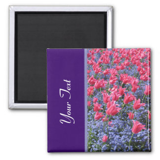 Pink and purple flower field 2 inch square magnet