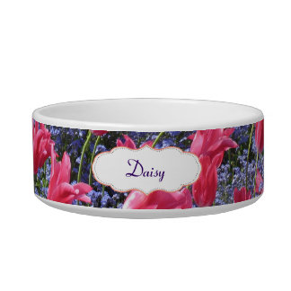 Pink and purple flower field cat bowl