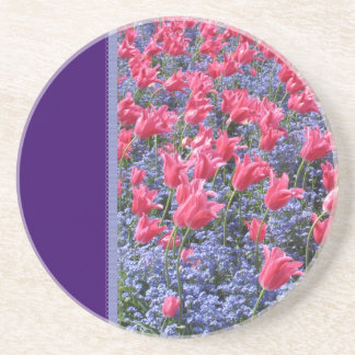Pink and purple flower field coaster