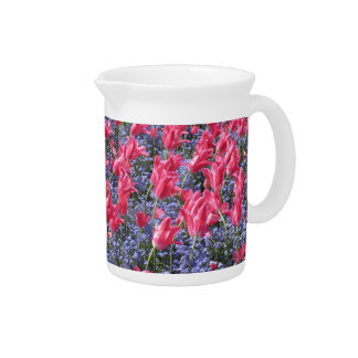 Pink and purple flower field drink pitcher