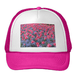 Pink and purple flower field mesh hats