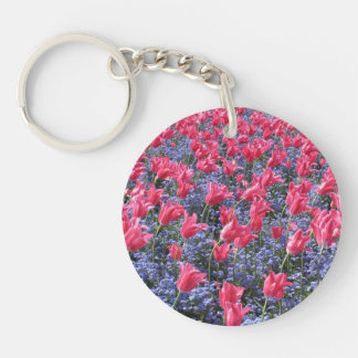Pink and purple flower field keychain