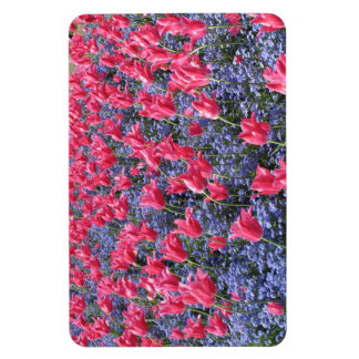 Pink and purple flower field magnet