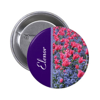 Pink and purple flower field pinback button