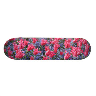 Pink and purple flower field skateboard