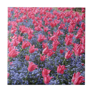 Pink and purple flower field tile