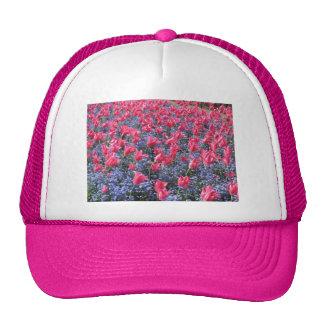 Pink and purple flower field trucker hat