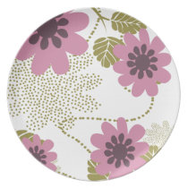 pink and purple flower melamine plate