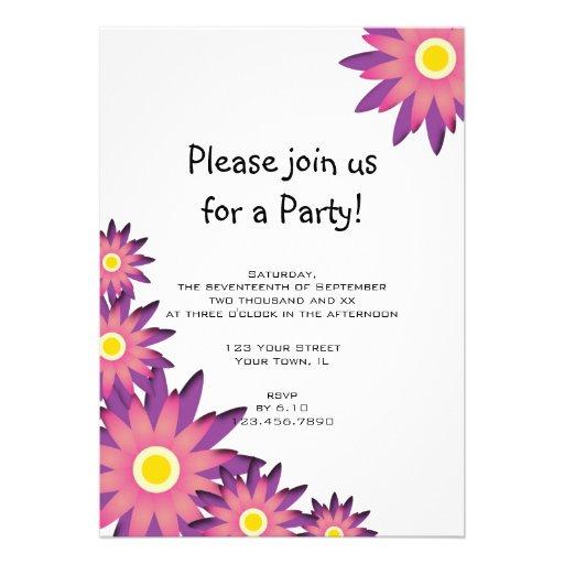 "Pink and Purple Flower Party Invitation 5"" X 7"" Invitation Card | Zazzle"