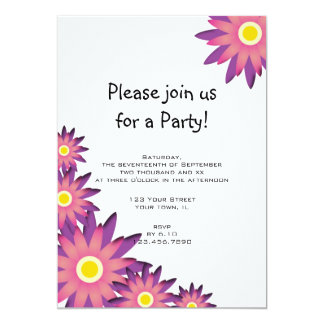 Pink and Purple Flower Party Invitation