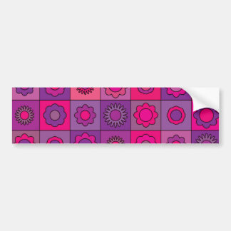 Pink and Purple Flower Pattern Bumper Sticker