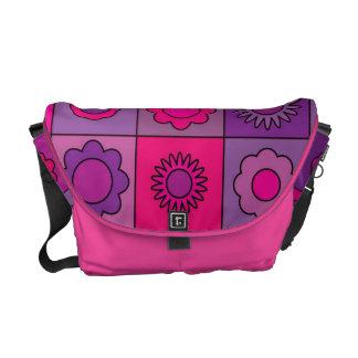 Pink and Purple Flower Pattern Messenger Bag