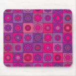 Pink and Purple Flower Pattern Mouse Pad
