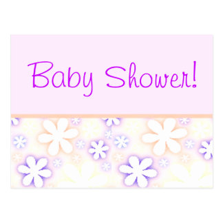 pink and purple flowers, Baby Shower! Postcard