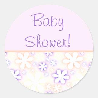 pink and purple flowers, BabyShower! Classic Round Sticker