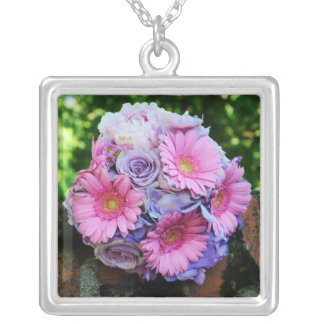 Pink and purple flowers bouquet personalized necklace