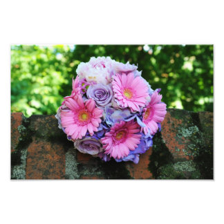Pink and purple flowers bouquet photo art