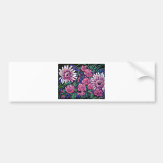 pink and purple flowers bumper sticker