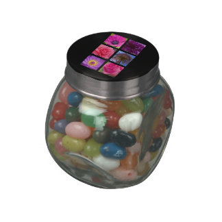 Pink and Purple Flowers Jelly Belly Candy Jar