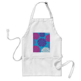 Pink and Purple Flowers on Teal Blue Apron