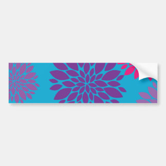 Pink and Purple Flowers on Teal Blue Bumper Stickers