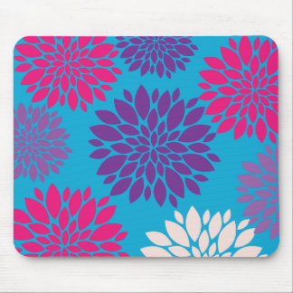 Pink and Purple Flowers on Teal Blue Mouse Pad