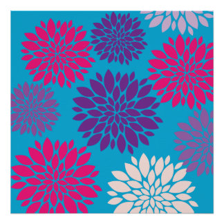Pink and Purple Flowers on Teal Blue Poster