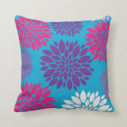 Purple And Pink Decorative Pillows : Pink and Purple Flowers on Teal Blue Throw Pillows Zazzle